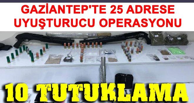 25 adrese eş zamanlı uyuşturucu operasyonu