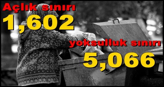 Açlık sınırı 1,602, yoksulluk sınırı 5,066 lira oldu