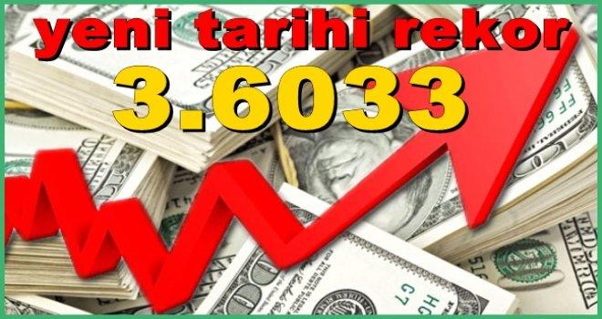 Dolar 3.6033 lira ile yeni tarihi rekorda