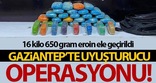 Gaziantep'te 16 kilo 650 gram eroin ele geçirildi