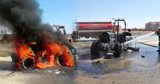 Gaziantep'te tarla sürdüğü traktör alev alev yandı