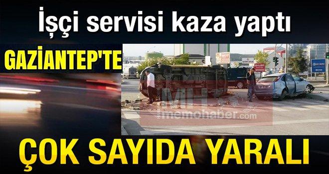 Gaziantep'te Feci kaza işçi servisiyle çarpıştı: 14 yaralı