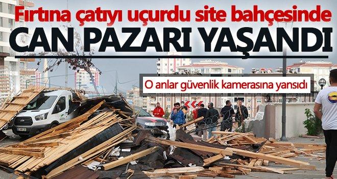 Gaziantep'te fırtınanın uçurduğu çatı çocukların oynadığı alana düştü...