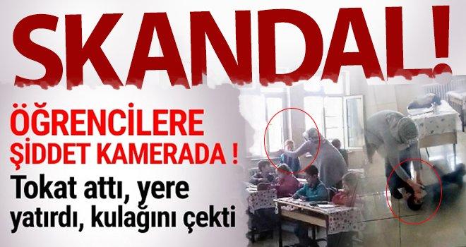 Gaziantep'te okulda skandal görüntüler! Öğrencileri yere yatırıp...