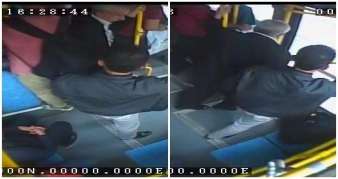 Gaziantep'te otobüste yankesicilik güvenlik kamerasında