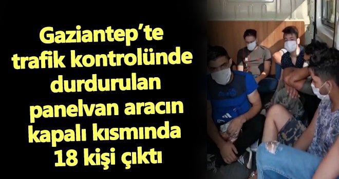 Gaziantep'te panelvan araçtan 18 kişi çıktı