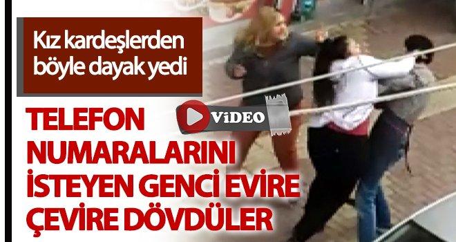 İki kız kardeş bir erkeği sokak ortasında dövdü...