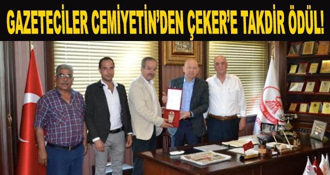 İş insanı Çeker'e Gazeteciler Cemiyetinden takdir ödülü