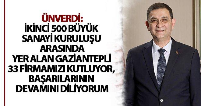 İSO ikinci 500 listesinde Gaziantep'ten 33 firma yer aldı