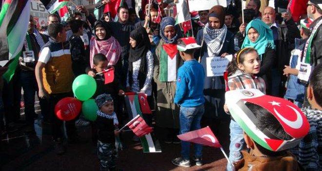 Kilis'teki Filistinlilerden ABD ve İsrail protestosu