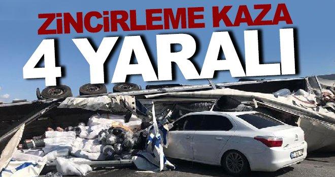 Korkunç kazada halı yüklü TIR iki otomobille çarpıştı