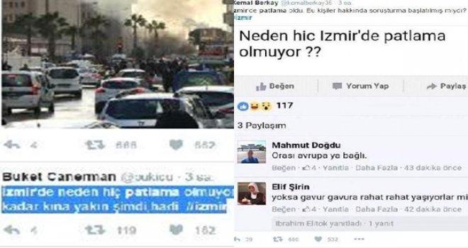 'Neden hiç İzmir'de patlama olmuyor' paylaşımına tepkiler büyüyor