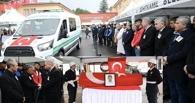 Şehit Polis Yusuf Çelik düzenlenen törenle memleketine uğurlandı