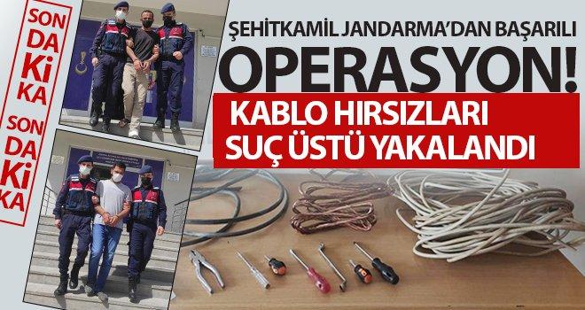 Şehitkamil Jandarma kablo hırsızlarını yakaladı