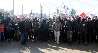 Azez'de Türki'de destek eylemi