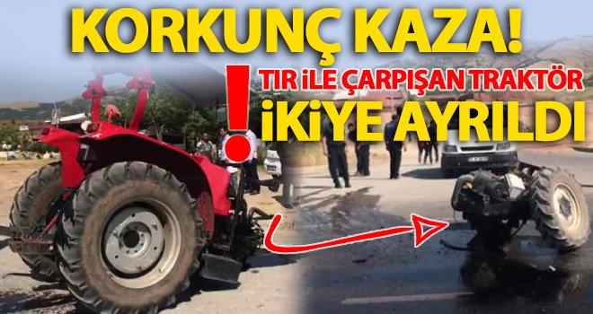Traktör kazada ikiye ayrıldı: 1 kişi yaralandı